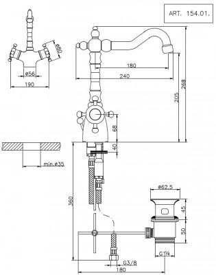 Huber Victorian Thermostatische Wastafelmengkraan Brons 15401HBA