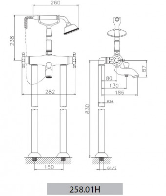 Huber Victorian Staande Thermostatische Badkraan met Douchegarnituur Chroom-Goud 25801HCA