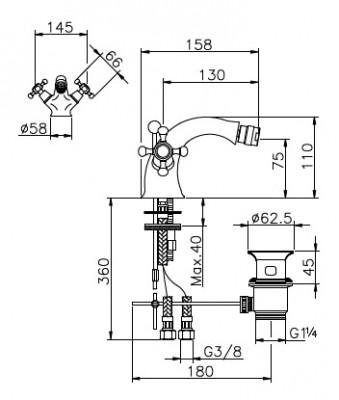 Huber Victorian 2 greeps Bidetmengkraan Chroom-Goud 25601HCA