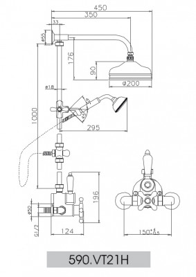 Huber Victorian Thermostatische Doucheset Brons 590VT21HBA