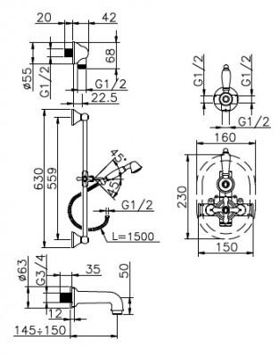 Huber Croisette Inbouw Thermostatische Bad/Doucheset RVS 914CS01HNS