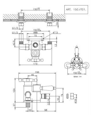 Huber Victorian Douchethermostaat Goud 150VT01HAG
