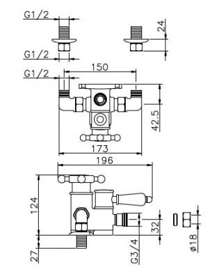 Huber Victorian Douchethermostaat Chroom-Goud 150.VT51HCA