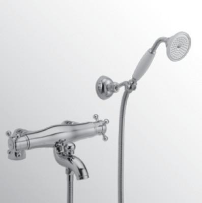 Huber Victorian Thermostatische Badkraan met Douchegarnituur voor badrandmontage Chroom/Goud 196.VT01H.CA