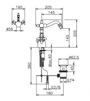 Huber Croisette Bidetkraan thermostatisch Chroom/Goud 186.01H.CA