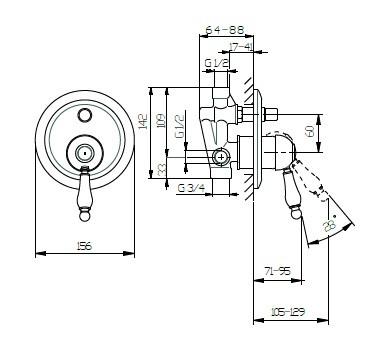 Huber Croisette Inbouw Bad/douchemengkraan Goud CM.000210.2G