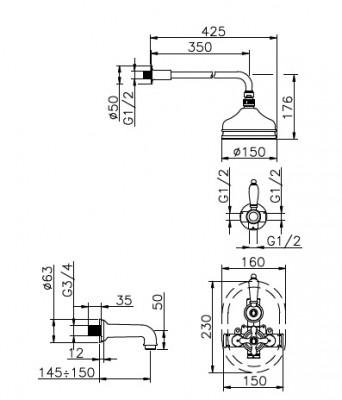 Huber Croisette Inbouwset Bad/Doucheset Chroom/Goud 916CS01HCA