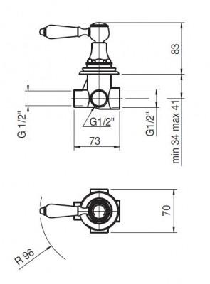 Zazzeri Kent inbouw 2-weg omsteller chroom 5500A405A00CRCR
