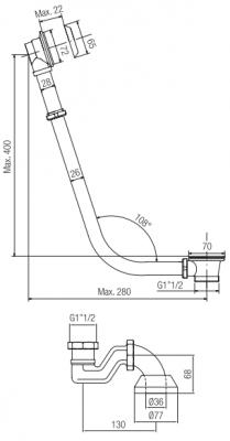 PB badafvoer met ketting voor vrijstaand bad brons 543BR