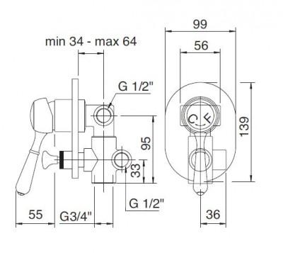 Zazzeri 900 inbouw stopkraan met omsteller chroom 1208677852 tech