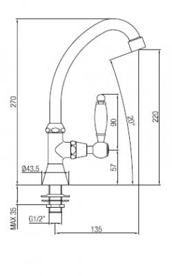 Klassieke fonteinkraan met witte hendel koud water met hoge uitloop chroom 1208853652