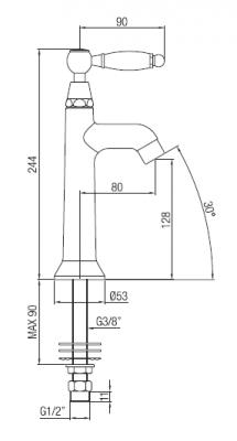 Klassieke fonteinkraan met witte hendel koud water met chroom 1208853732