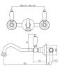 Klassieke kraan Opbouw muurkraan Witte hendels 25 cm uitloop Brons 1208854392
