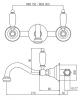 Klassieke kraan Opbouw muurkraan Witte hendels 20 cm uitloop RVS 1208854372