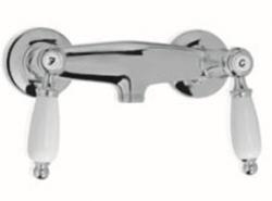 Klassieke kraan opbouw douchemengkraan met witte hendels RVS 1208854522