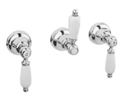 Klassieke kraan inbouw doucheset 3 weg omsteller met witte hendels Brons 1208854632