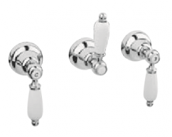 Klassieke kraan inbouw doucheset 3 weg omsteller met witte hendels RVS 1208854642
