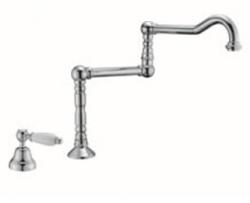 Klassieke fonteinkraan met witte hendel koud water en lange draaibare uitloop RVS 1208854772