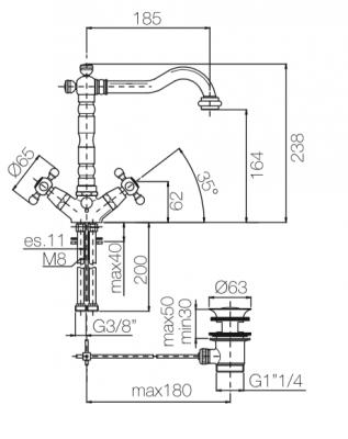 Klassieke wastafelkraan sterknoppen uitloop 18,5 cm Chroom 1208854932