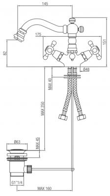 Klassieke bidetkraan 145 mm uitloop RVS 1208855032
