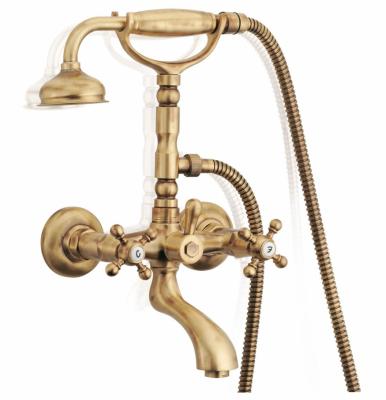 Klassieke kraan opbouw badkraanset met sterknoppen RVS inclusief handdouche 1208855172