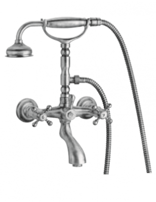 Klassieke kraan opbouw badkraanset met sterknoppen Chroom inclusief handdouche met ophanghaakje 1208855182