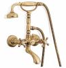 Klassieke kraan opbouw badkraanset met sterknoppen inclusief handdouche met ophanghaakje RVS 1208855202