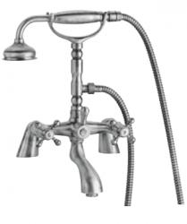 Klassieke kraan badrandkraanset met sterknoppen inclusief handdouche RVS 1208855232