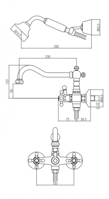 Klassieke kraan opbouw badkraanset met sterknoppen inclusief handdouche Chroom 1208855242