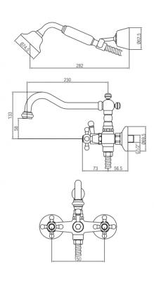 Klassieke kraan opbouw badkraanset met sterknoppen inclusief handdouche Brons 1208855252