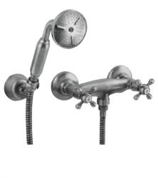 Klassieke kraan douchekraanset met sterknoppen inclusief handdouche RVS 1208855292
