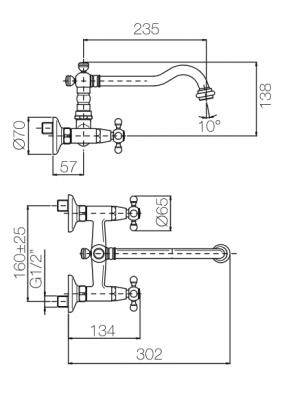 Klassieke opbouw muurkraan sterknoppen uitloop 23.5 cm RVS 1208855432