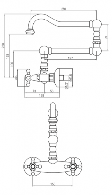 Klassieke opbouw muurkraan sterknoppen lange draaibare uitloop RVS 1208855462