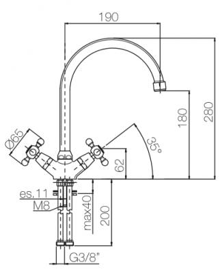 Klassieke keukenkraan sterknoppen uitloop 190 mm Chroom 1208855502