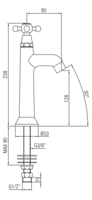Klassieke fonteinkraan met sterknop koud water chroom 1208855532