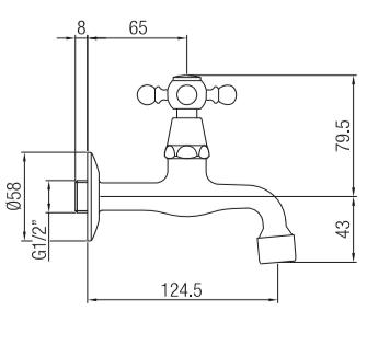 Klassieke muurfonteinkraan met sterknop koud water chroom 1208855592