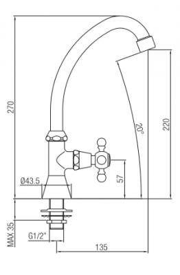 Klassieke fonteinkraan met sterknop koud water met hoge uitloop chroom 1208855652