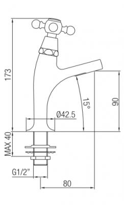 Klassieke fonteinkraan met sterknop koud water klein model chroom 1208855682
