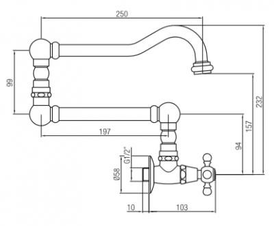Klassieke inbouw muur fonteinkraan met sterknop koud water en lange draaibare uitloop RVS 1208855732
