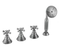 Klassieke 4-gats badrandset met sterknoppen t.b.v badvulcombinatie Brons 1208855842