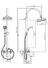 Klassieke Bad Doucheset opbouw met regendouche sterknoppen RVS 1208855882
