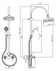 Klassieke Doucheset opbouw sterknoppen met regendouche telescopische douchekolom brons 1208855902