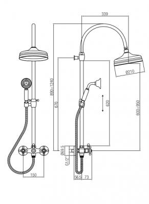 Klassieke Doucheset opbouw sterknoppen met regendouche telescopische douchekolom chroom 1208855922