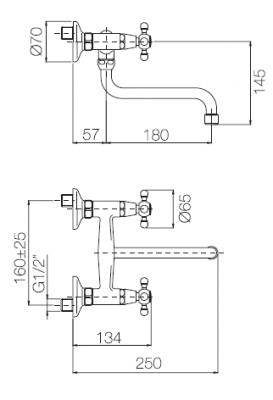 Klassieke wandkraan met draaibare uitloop 25cm Chroom 1208910852