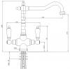 PB Nostalgische klassieke landelijke keukenkraan chroom met witte hendels 1208953911