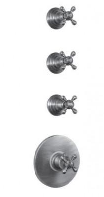 PB Classic nostalgische Inbouw douche thermostaat met 3 stopkranen chroom