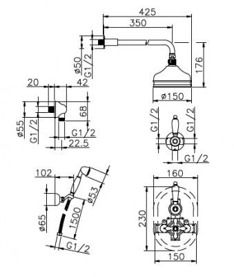 Huber Croisette Inbouw Thermostatische Doucheset Chroom 913CS01HCR