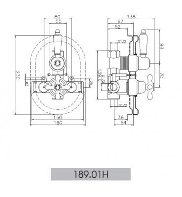 Huber Croisette Inbouw Douchethermostaat 18901H 1/2 Chroom