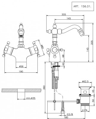 Huber Victorian Thermostatische Bidetmengkraan 15601HCR