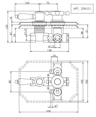 Huber Victorian inbouw thermostaatkraan Chroom 25901HCR